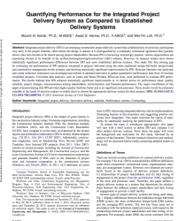 Quantifying Performance for the Integrated Project Delivery System as Compared to Established Delivery Systems